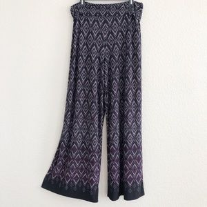 Cato Purple & Black Wide Leg Palazzo Stretch Pants